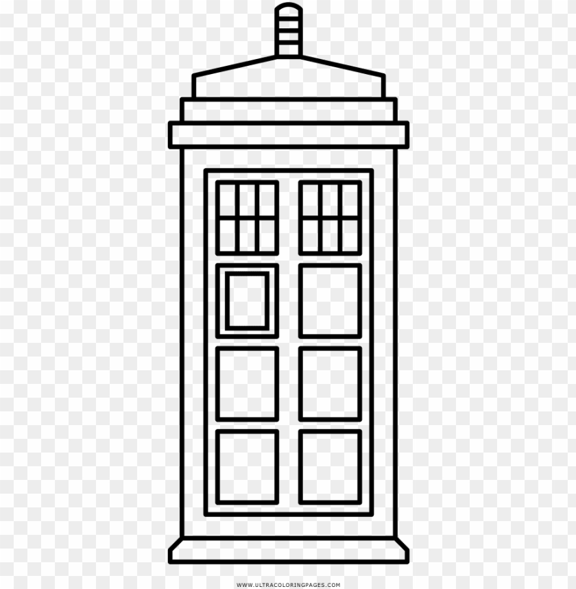 Tardis Coloring Page Vector Graphics Png Image With Transparent