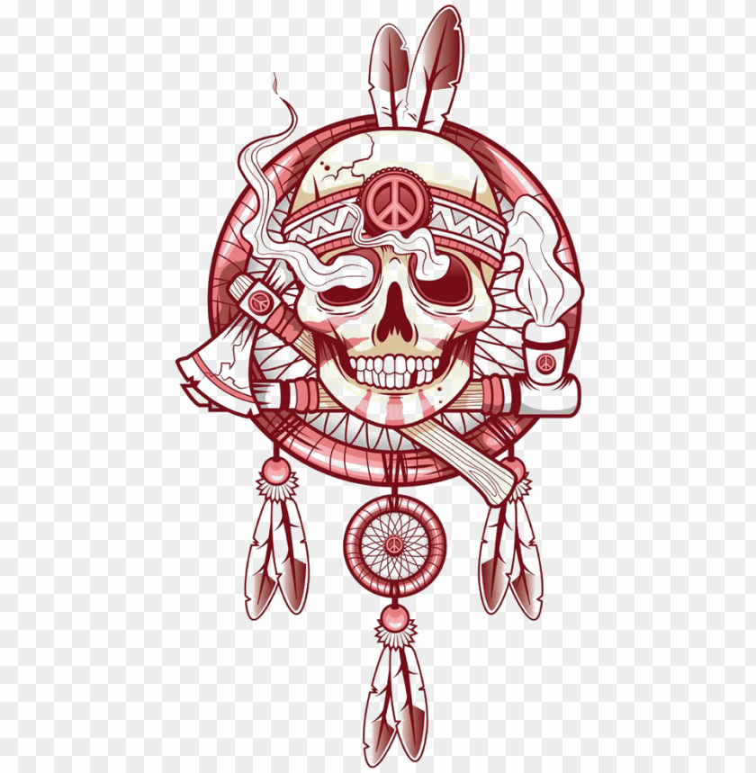 free PNG tattoo art skull t-shirt indian drawing clipart - dream catcher drawing with skull PNG image with transparent background PNG images transparent