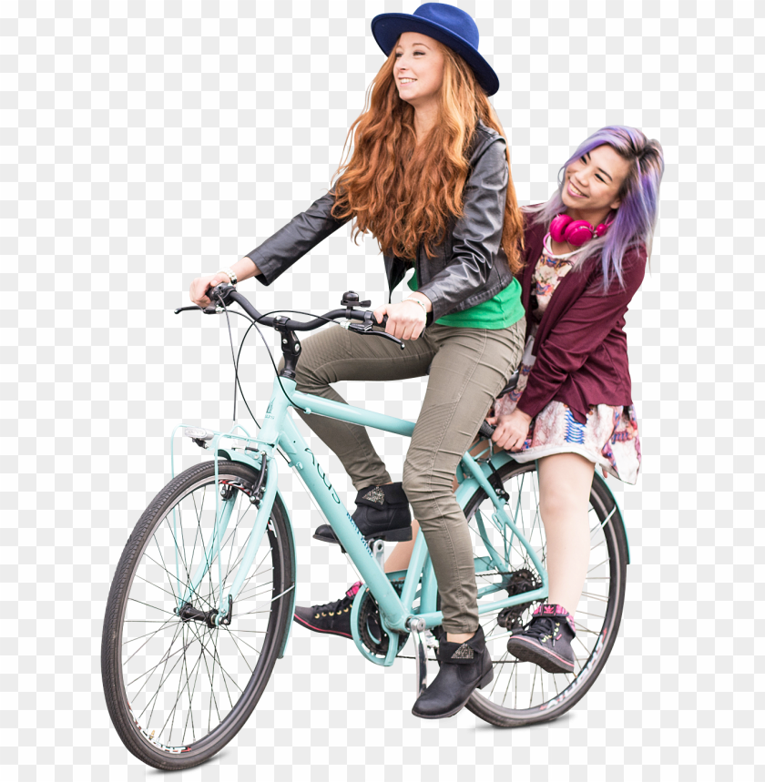 free PNG teenagers friends girls biking, group photo on bicycle - cut out girl bike PNG image with transparent background PNG images transparent