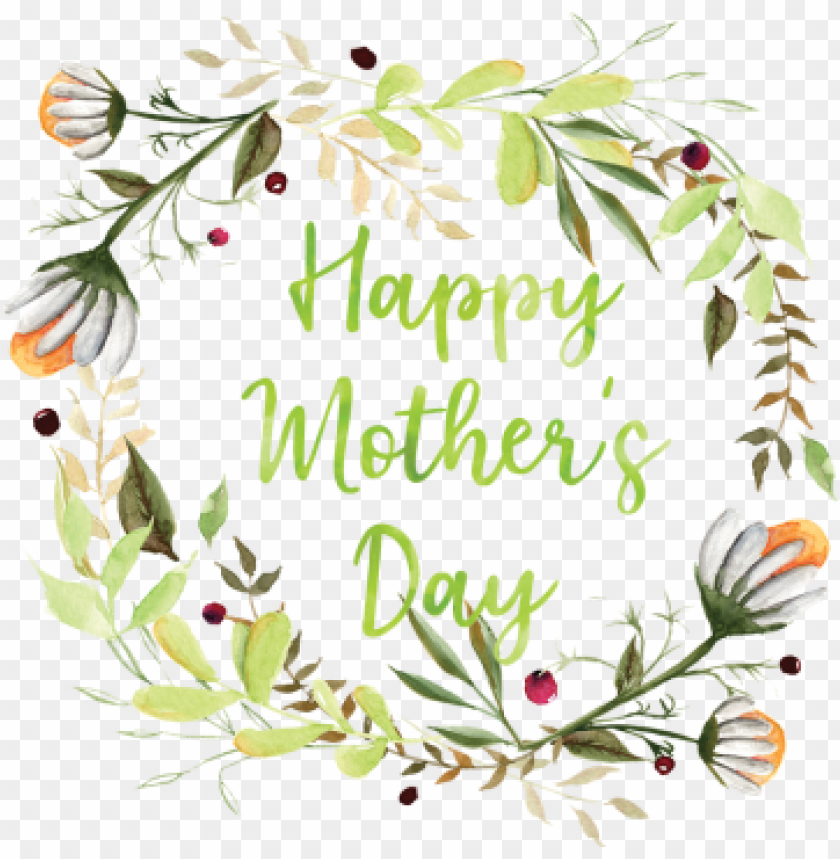 free PNG the green wreath happy mother's day, happy mother& - mother's day PNG image with transparent background PNG images transparent