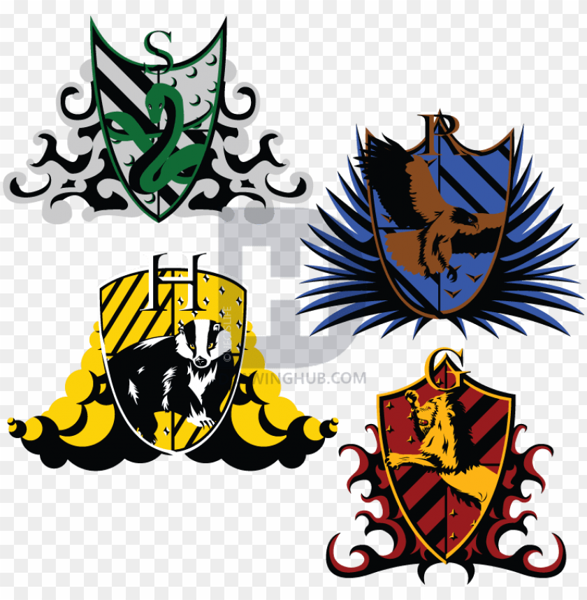 The Hogwarts Crests Harry Potter House Logo Png Image With