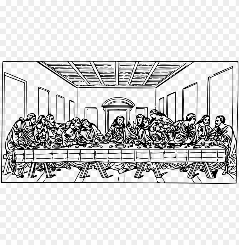free PNG the last supper christian clip art eucharist drawing - last supper line art PNG image with transparent background PNG images transparent
