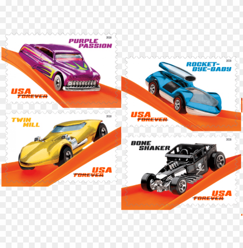free PNG the name of the vehicle shown in one of the top corners - usps hot wheels stamps PNG image with transparent background PNG images transparent