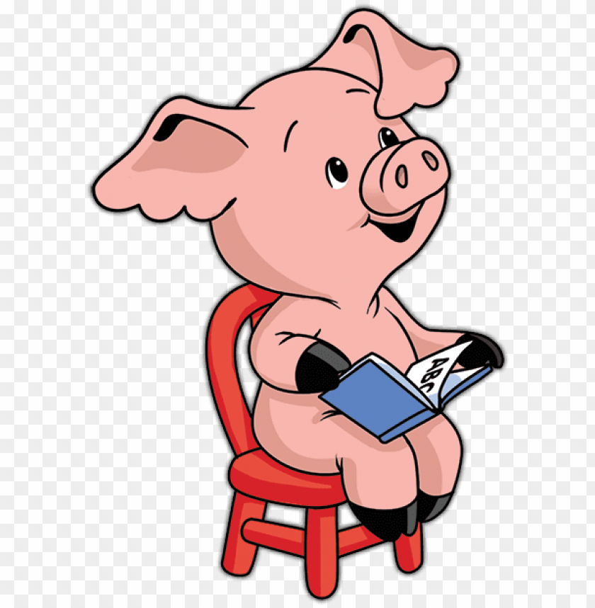free PNG the reading pig goes to the library - pig reading cartoo PNG image with transparent background PNG images transparent