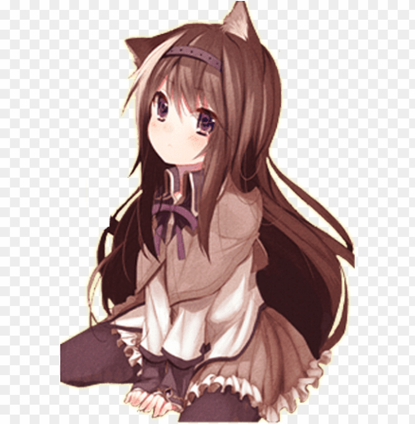 The Super Cutiness Of Neko Girl Anime Girl With Brown Hair And Cat Ears Png Image With Transparent Background Toppng