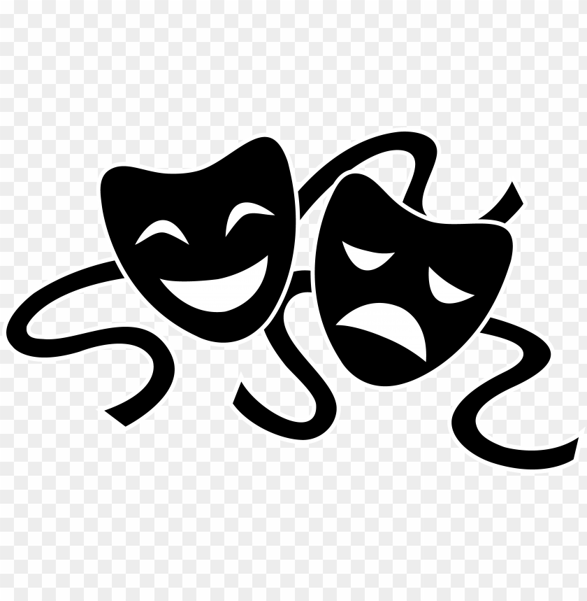 Theater Masks Silhouette Theatre Clipart Black And White Png Image With Transparent Background Toppng