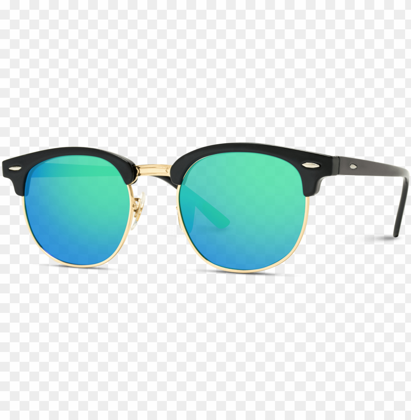 free PNG theo half frame polarized lens horn rimmed sunglasses - ray ban clubmaster PNG image with transparent background PNG images transparent
