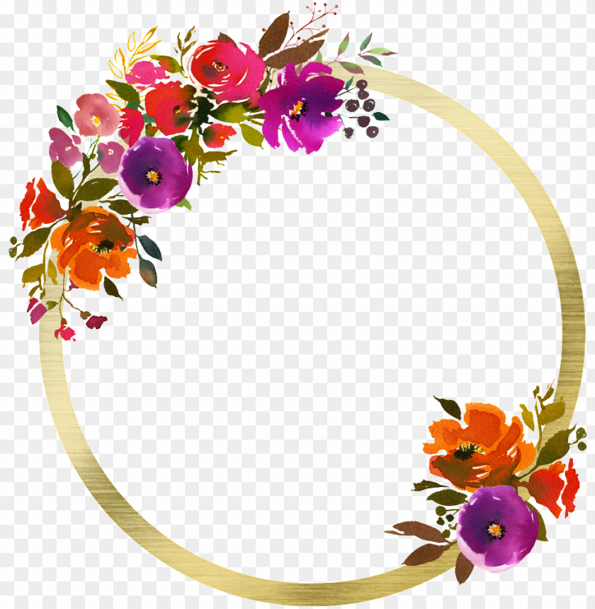free PNG this graphics is hand painted floral  transparent - watercolor flowers frame orange png - Free PNG Images PNG images transparent