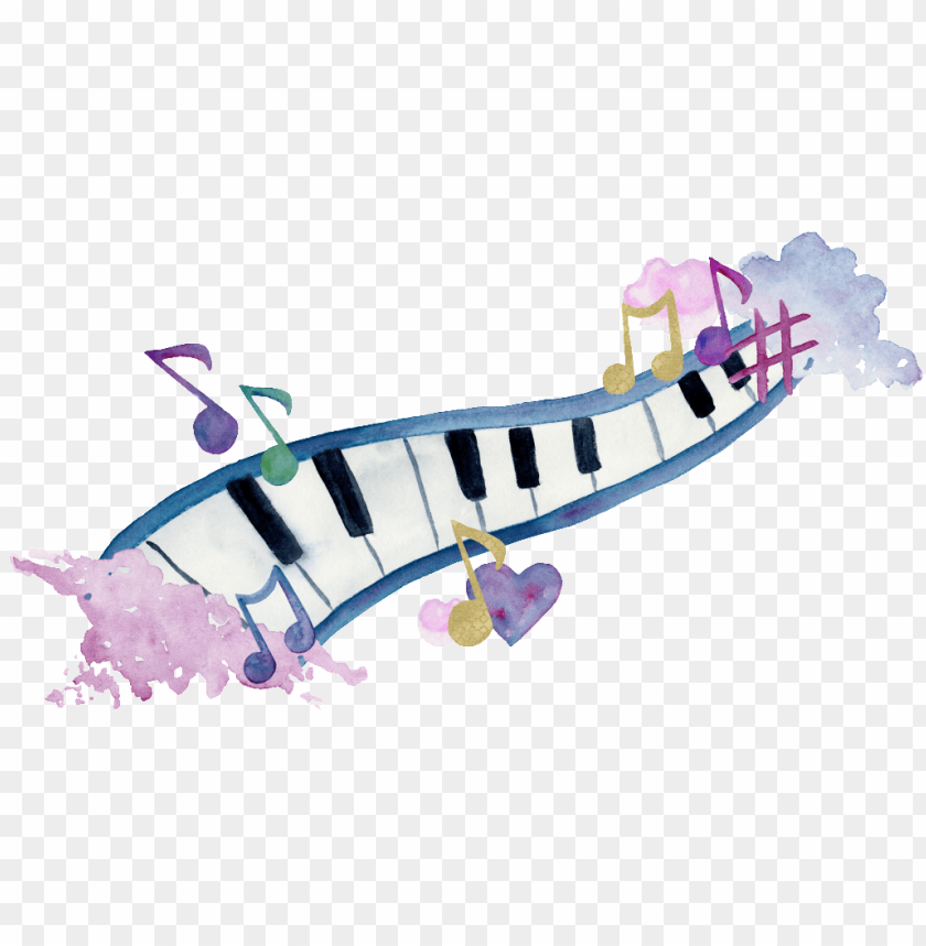 free PNG this graphics is hand painted piano png transparent - watercolour painting about music PNG image with transparent background PNG images transparent