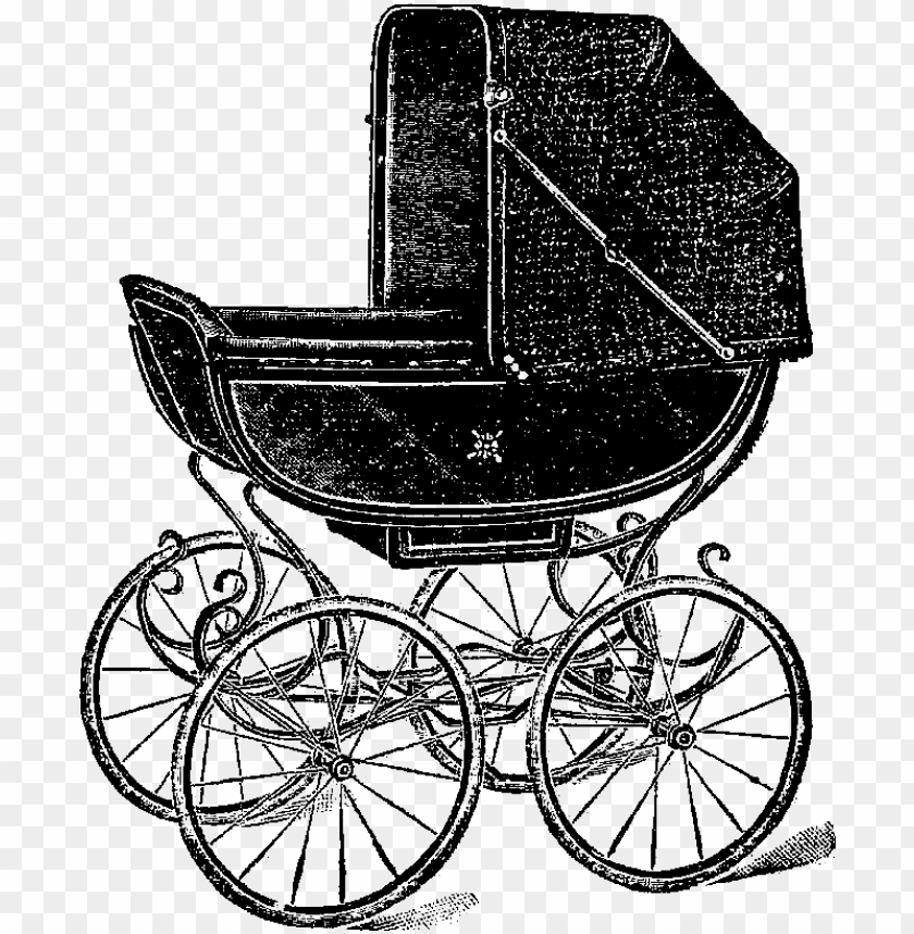 free PNG this is a very charming baby carriage digital stamp - vintage baby carriage PNG image with transparent background PNG images transparent