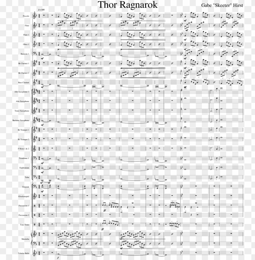 free PNG thor ragnarok sheet music for flute, clarinet, piccolo, - sheet music PNG image with transparent background PNG images transparent