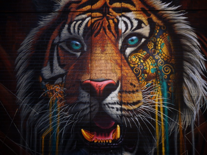 Tiger Graffiti Street Art Wall Colorful Background Toppng