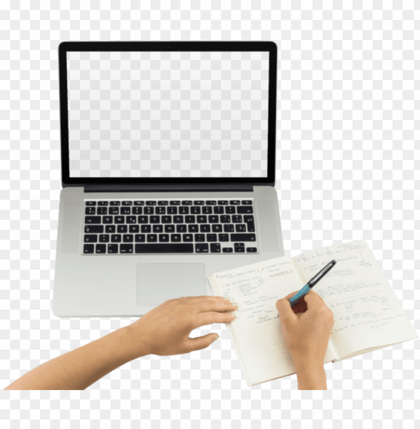 free PNG top shot macbook png mockup featuring a woman writing - hands on laptop PNG image with transparent background PNG images transparent
