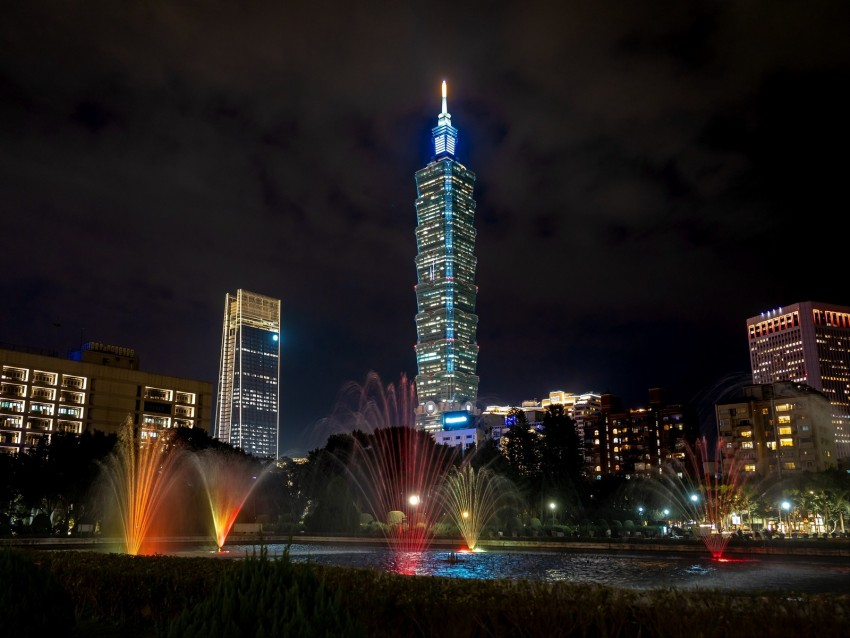free PNG tower, night city, lights, city lights, taipei, taiwan background PNG images transparent