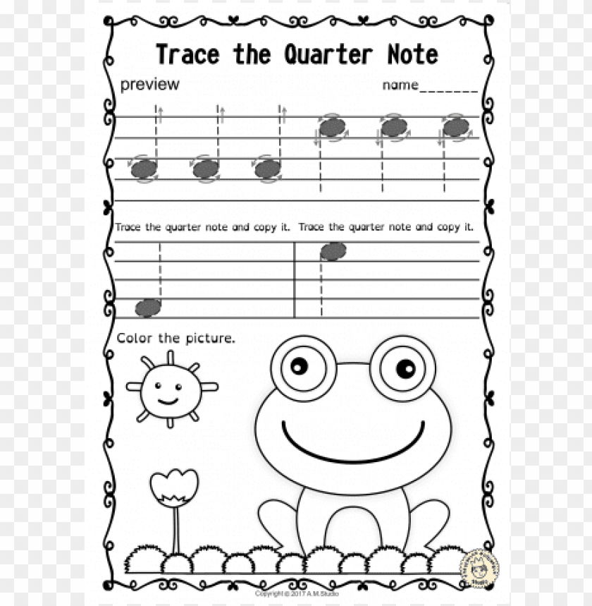 free PNG tracing music notes worksheets for spring - trace music notes worksheet PNG image with transparent background PNG images transparent