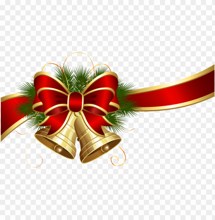 free PNG transparent christmas bells with red bow PNG Images PNG images transparent