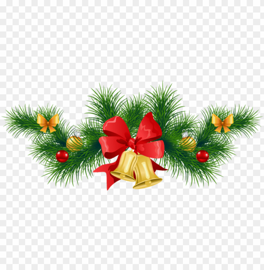 free PNG transparent christmas pine garland with bells PNG Images PNG images transparent