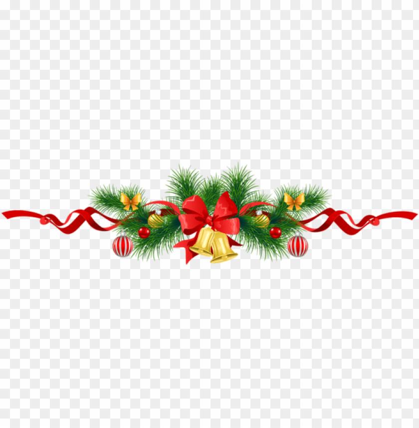 free PNG transparent christmas pine garland with gold bells PNG Images PNG images transparent