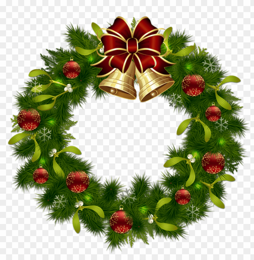 free PNG transparent christmas pinecone wreath with gold bells PNG Images PNG images transparent