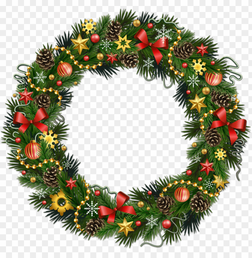free PNG transparent christmas pinecone wreath with ornaments PNG Images PNG images transparent
