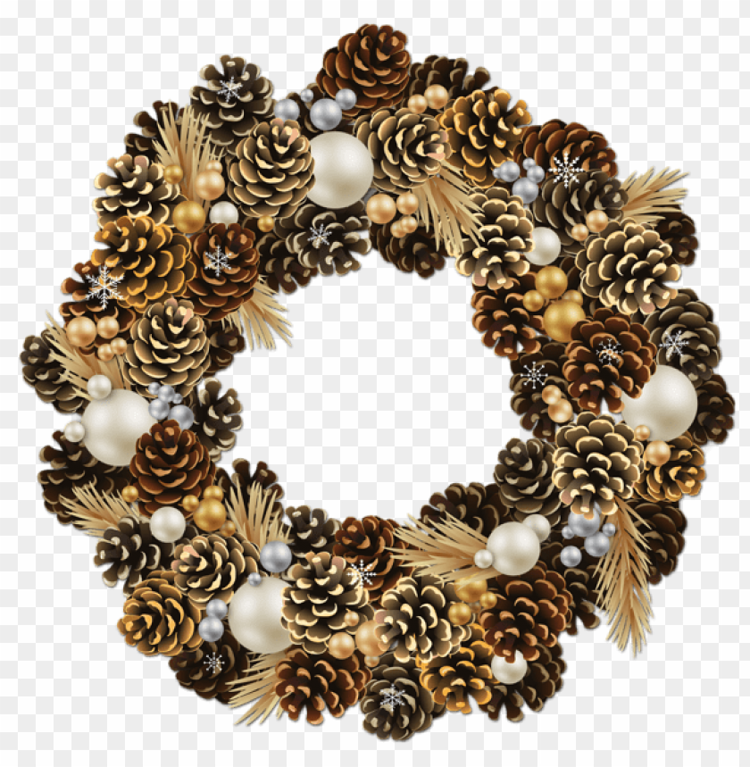 free PNG transparent christmas pinecone wreath with pearls PNG Images PNG images transparent