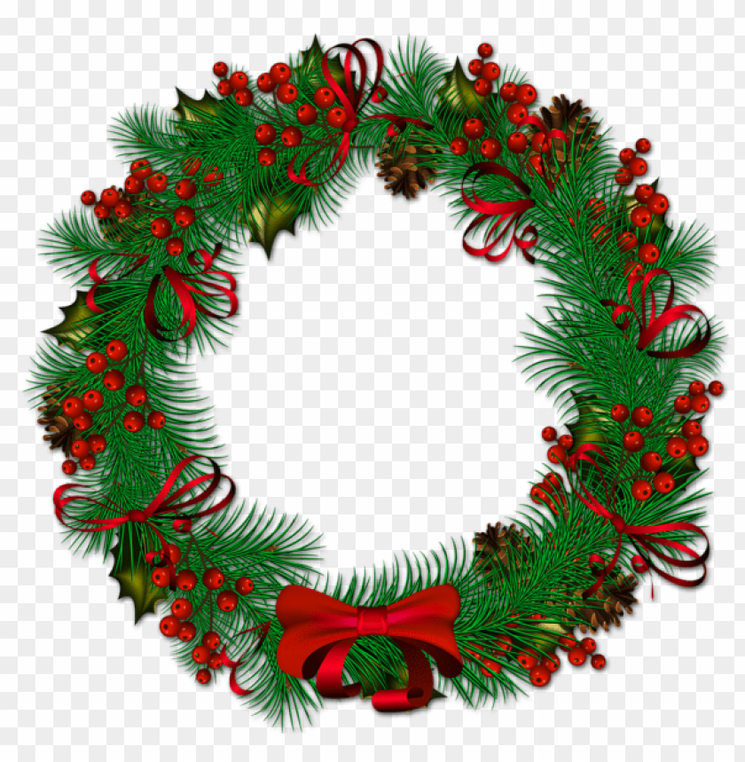 free PNG transparent christmas pinecone wreath with red ribbon PNG Images PNG images transparent