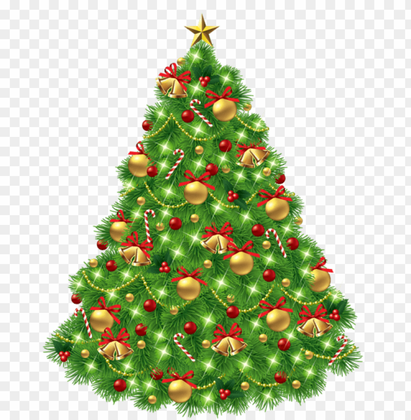 free PNG transparent christmas tree with ornaments and gold bells PNG Images PNG images transparent