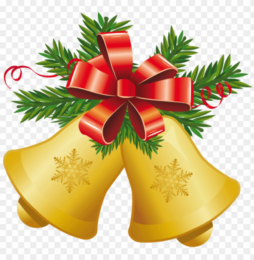 free PNG transparent christmas yellow bells with red bow PNG Images PNG images transparent