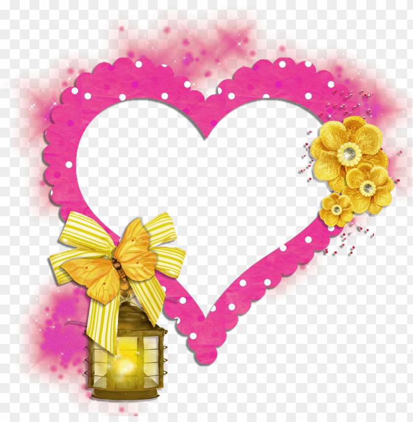 free PNG transparent frame pink heart with yellow butterfly flowers and lamp background best stock photos PNG images transparent