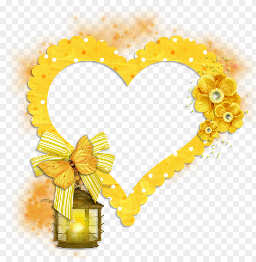 free PNG transparent frame yellow heart with butterfly flowers - png butterfly frame PNG image with transparent background PNG images transparent
