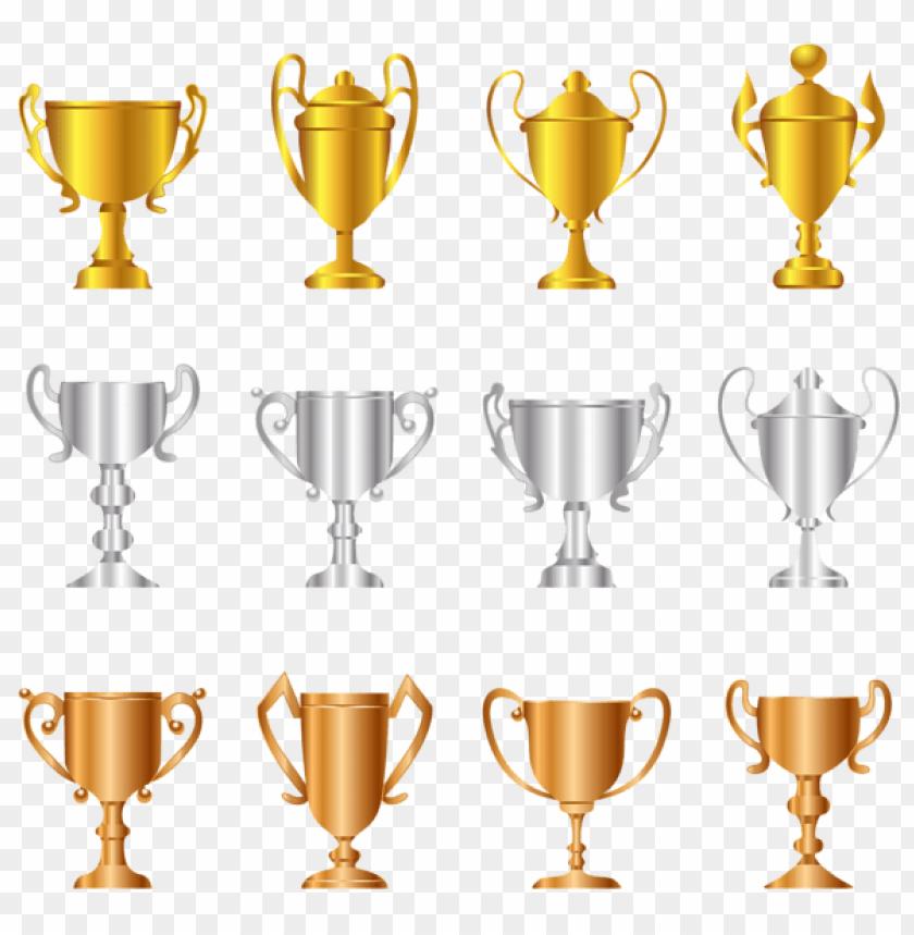 free PNG Download transparent gold silver bronze trophies set clipart png photo   PNG images transparent