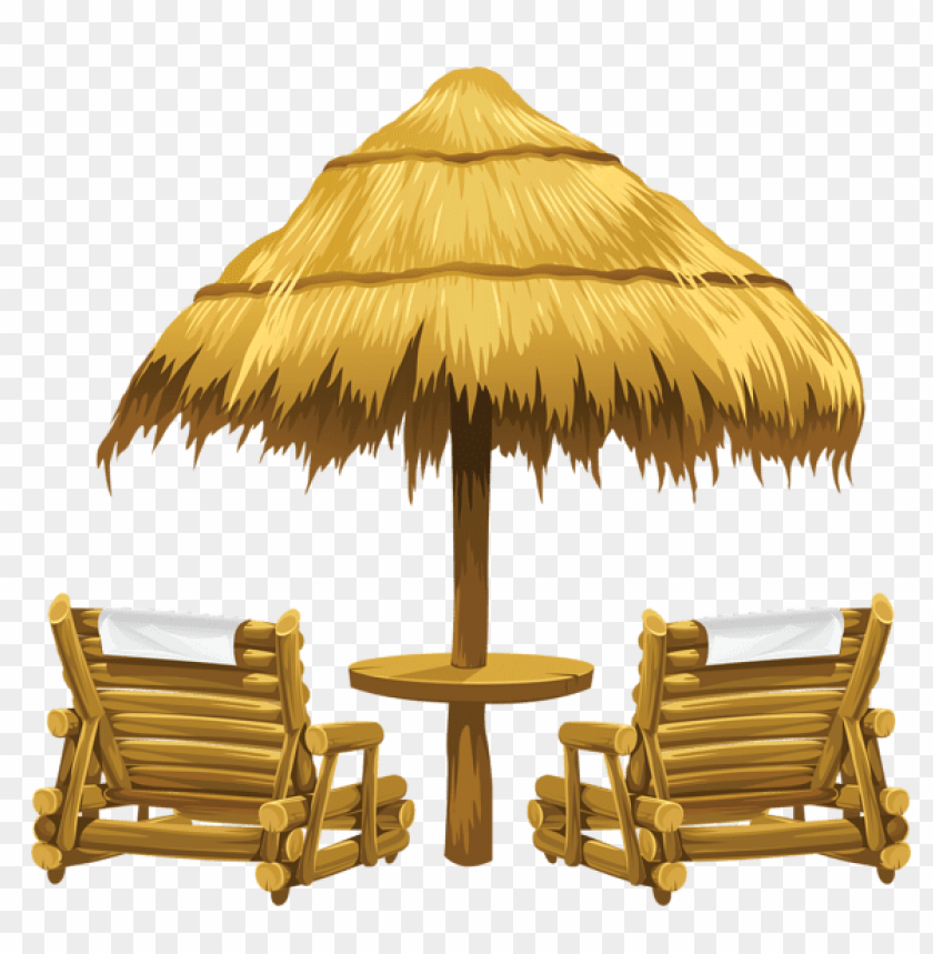 free PNG Download transparent tiki beach umbrella and chairs clipart png photo   PNG images transparent