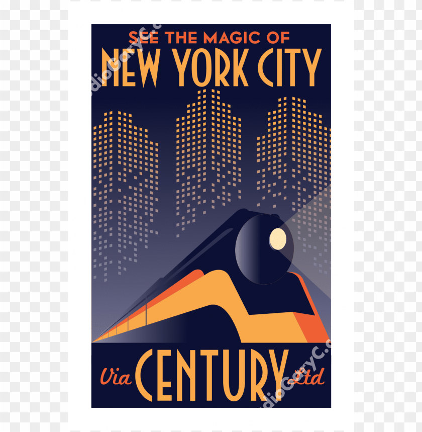 free PNG travel posters images art deco new york city train - art deco new york poster PNG image with transparent background PNG images transparent