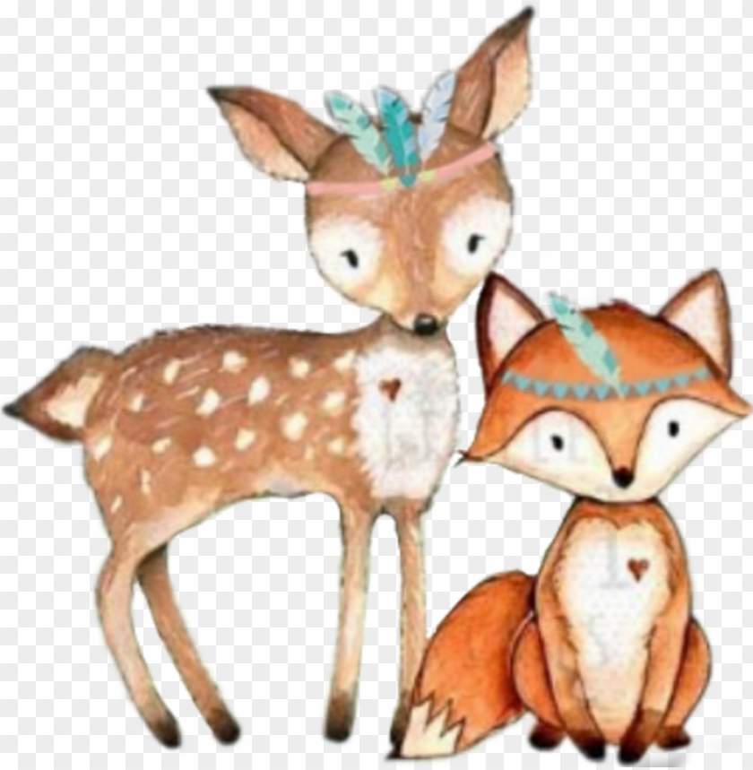 free PNG #tribal #fox #deer #woodland #forest #animals - deer nursery print PNG image with transparent background PNG images transparent