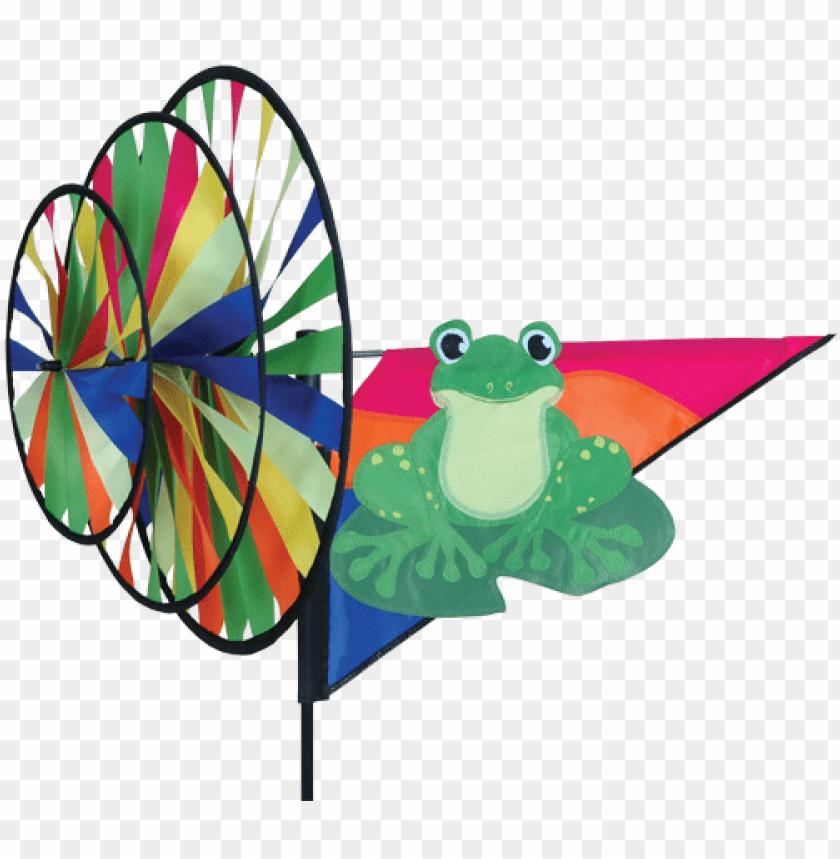 free PNG triple wheel green frog spinner - premier green frog triple garden spinner PNG image with transparent background PNG images transparent