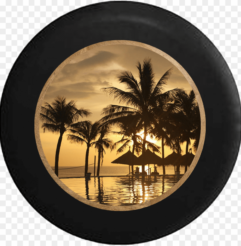 free PNG tropical island beach vacation hut palm trees rv camper - palm trees sunset hd PNG image with transparent background PNG images transparent