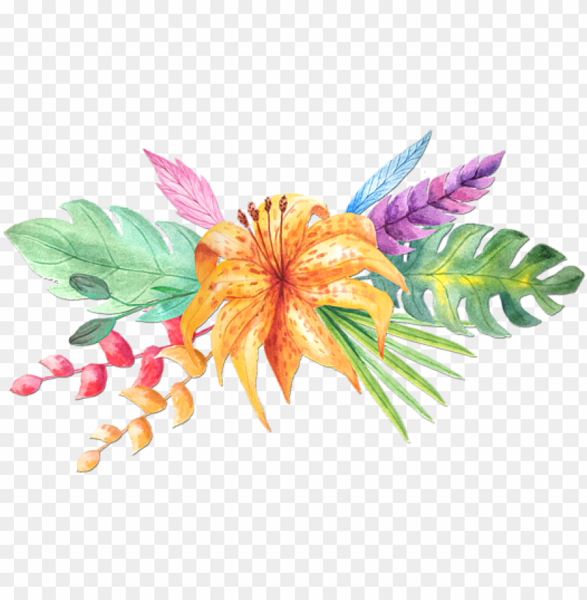 free PNG tropical watercolor png - tropical flower watercolor PNG image with transparent background PNG images transparent