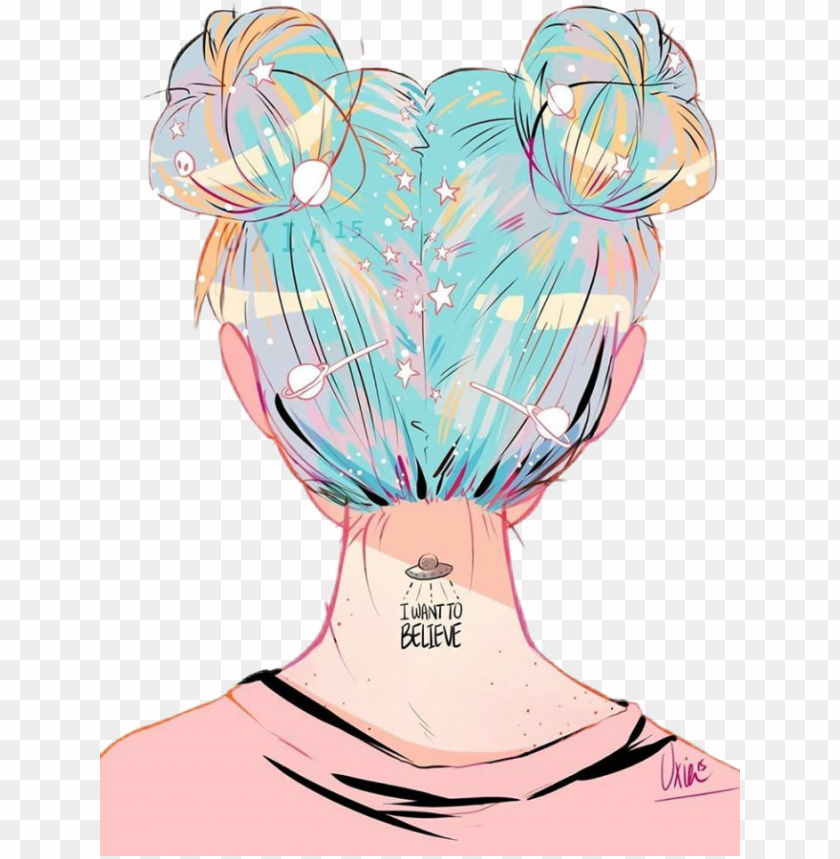 free PNG tumblr girl girls pink hair bestfriends believe - girls with space buns PNG image with transparent background PNG images transparent