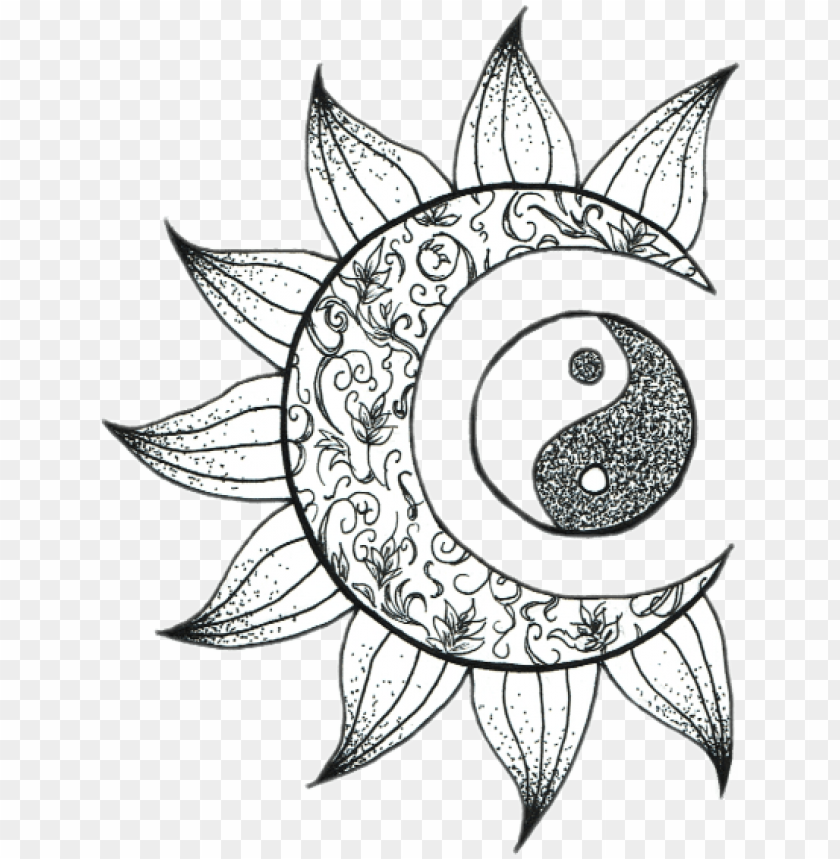 Tumblr Moon Sol Luna Sticker Png Tumblr Flower Moon Artsy Coloring Pages Png Image With Transparent Background Toppng