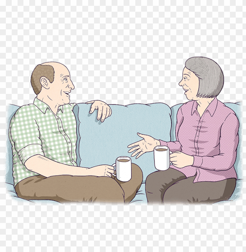 free PNG two old people are sitting on a couch, talking - old people talking cartoo PNG image with transparent background PNG images transparent