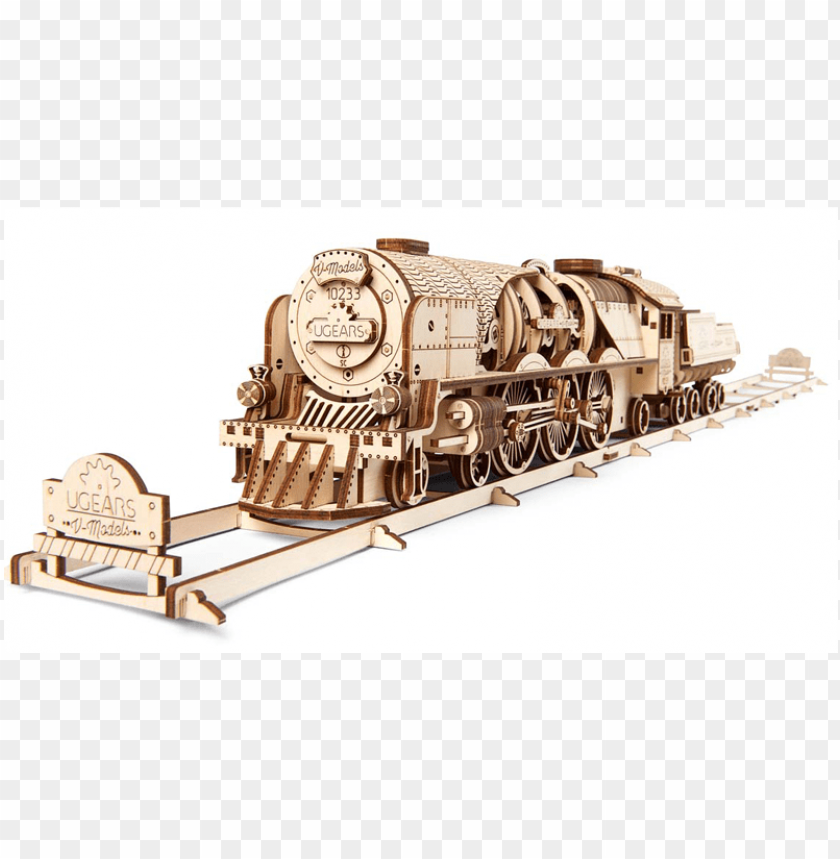 free PNG ugears v-express steam train with tender - ugears v express PNG image with transparent background PNG images transparent