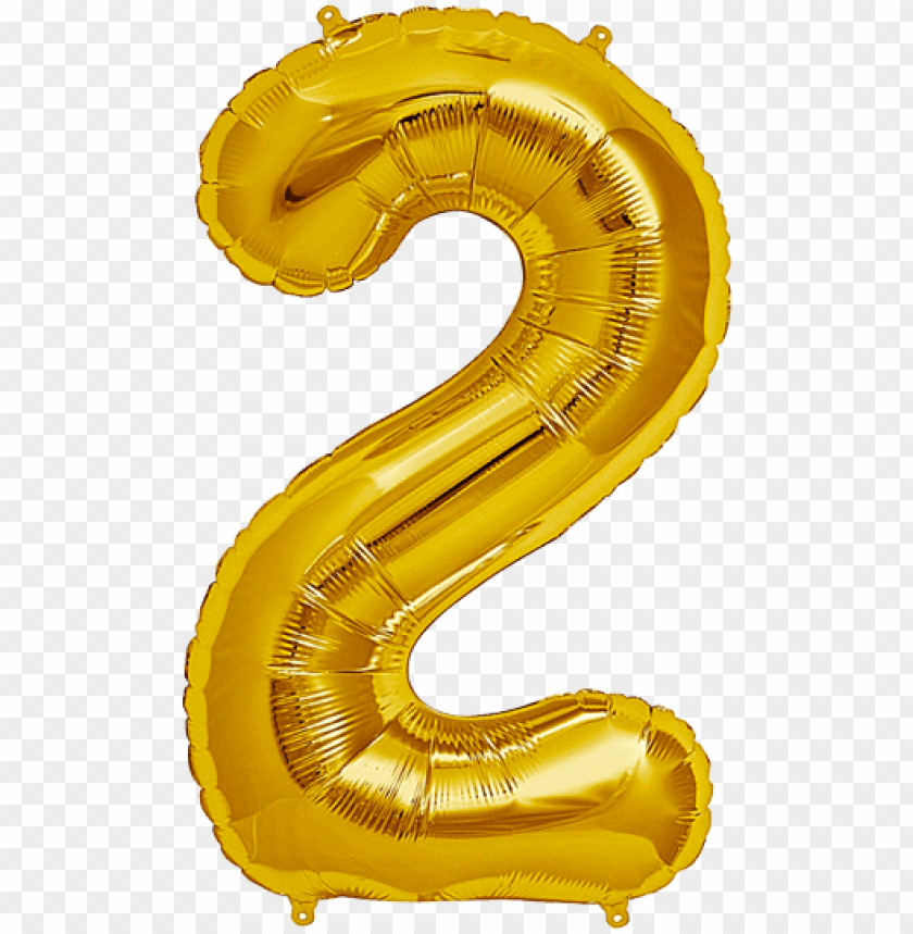 free PNG umber two 2 jumbo gold foil balloon - gold 2 balloon transparent PNG image with transparent background PNG images transparent