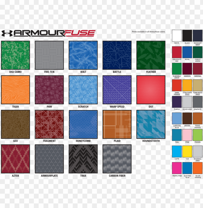 free PNG under armour armourfuse custom sublimation color chart - under armour patterns PNG image with transparent background PNG images transparent
