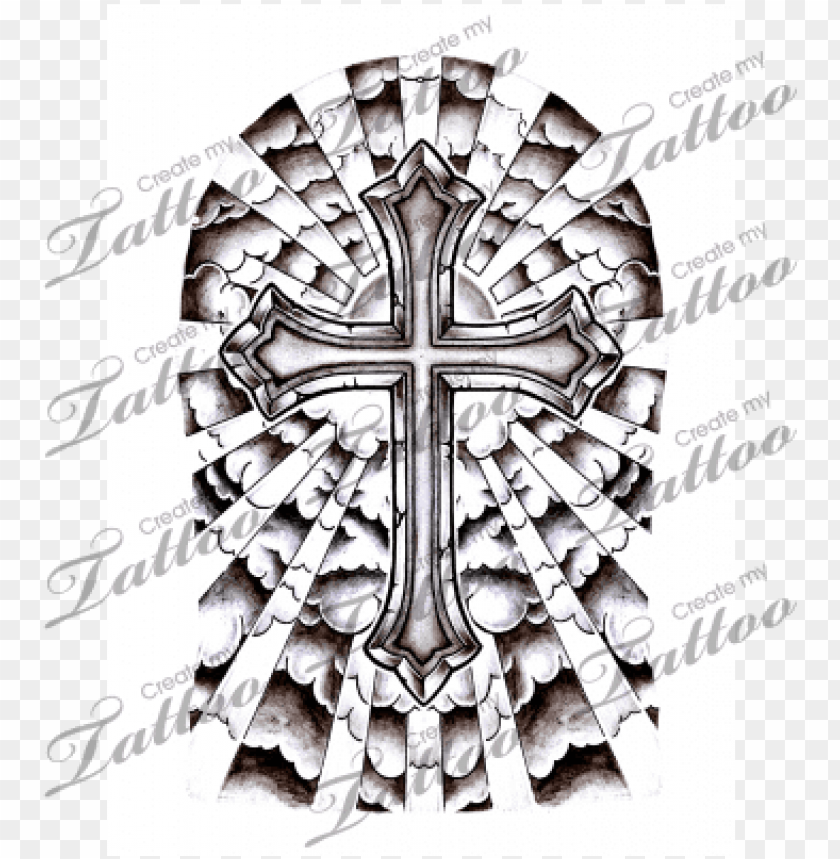 free PNG unique clouds background tattoo cross with clouds and - cross half sleeve tattoo PNG image with transparent background PNG images transparent