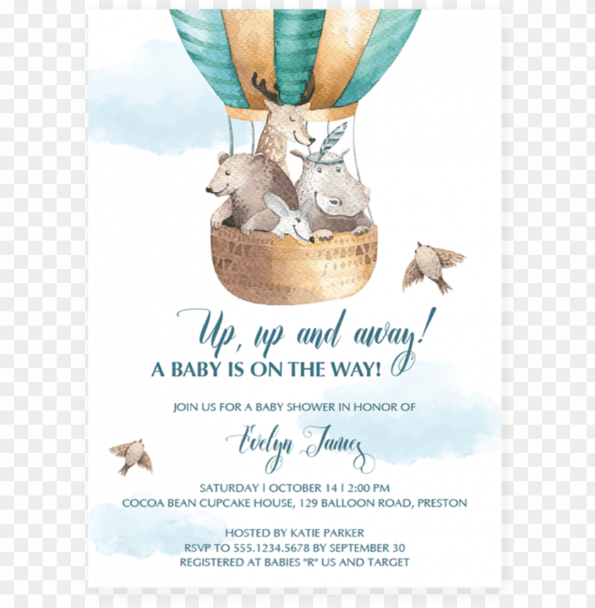 free PNG up up and away baby shower invitation template download - hot air balloon baby shower invitation template PNG image with transparent background PNG images transparent