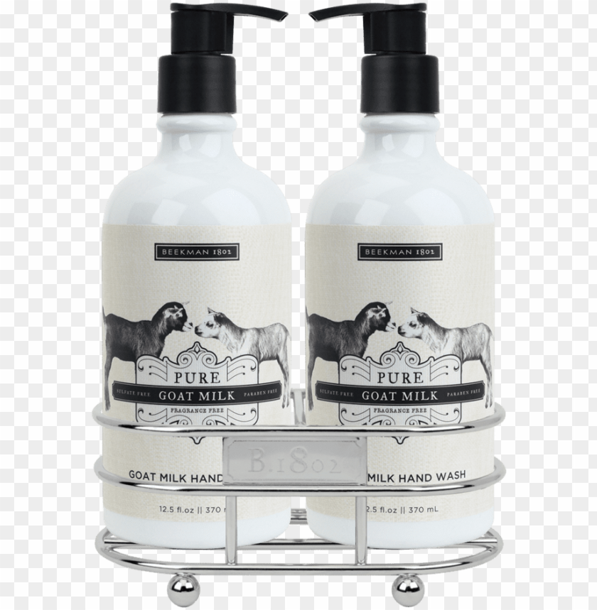 free PNG ure goat milk hand care duo caddy set, bk-beekman - beekman 1802 pure goat milk hand wash PNG image with transparent background PNG images transparent