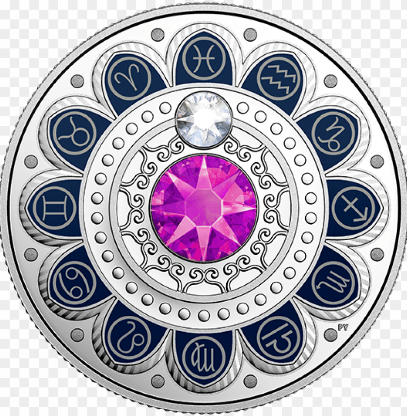 free PNG ure silver coin made with swarovski® crystals zodiac - 2017 fine silver 3 dollar coin - zodiac series: pisces PNG image with transparent background PNG images transparent