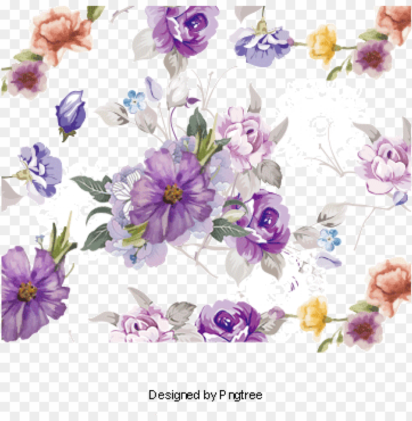 free PNG urple watercolor flowers vector material, hand painted, - vintage flora 2 scarf PNG image with transparent background PNG images transparent