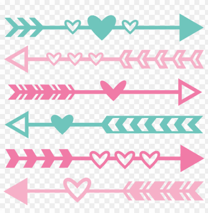free PNG valentine arrow set svg scrapbook cut file cute clipart - arrow with hearts sv PNG image with transparent background PNG images transparent