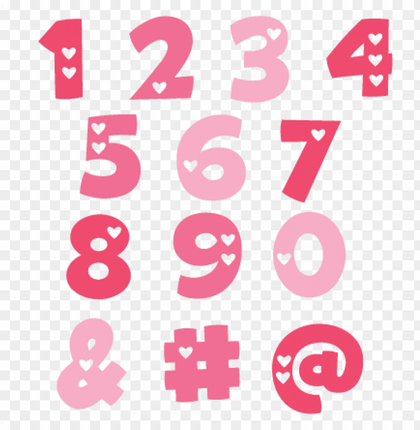free PNG valentine numbers svg cut files valentine alphabet - cute numbers PNG image with transparent background PNG images transparent